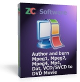 <p> 	ZC MPEG to DVD Burner is a user-friendly MPEG/MPG/Mpeg4/Mp4 video files to DVD burner software that can convert and join MPEG/MPG/VCD/SVCD/Mpeg4/Mp4/Dat movie files and burn into DVD+R/RW and DVD-R/RW disc that playable on car or home DVD player., all you need to do is just one-click of your mouse. supports both NTSC and PAL TV system.Supports widescreen and standard TV. It's a 1 click solution to burn DVD movie from your VCD/SVCD collection.</p>