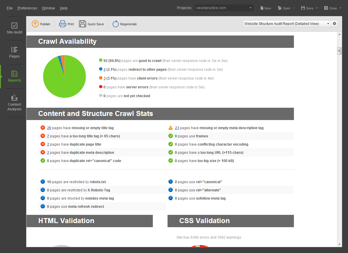 Website Auditor Website Tool