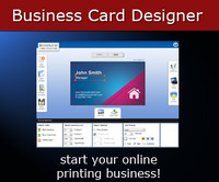 <p>Business Card Maker is an online tool for creating business cards.  The application is  the most powerful online business card maker  allowing users to save and resume projects later, import already made  templates, background and symbols. Business Card Maker can be used by your print company in order to increase business cards sales allowing visitors to quickly design their business cards.</p>