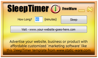 "<p>SleepTimer is a template software title, designed to give long term marketing exposure for websites, business' or products by having a button link to your website on plain display and being circulated around the internet as FreeWare.</p> <p>Compared to the costs of pay per click advertising systems the long term benefits offered with this advertising technique are highly desirable.</p> <p>Each customized build of SleepTimer is unique for each client. No overlapping advertisements can take place and you will be able to distribute the software as freeware to your audience, in any manner you like forever!</p> <p>SleepTimer itself is a nifty little program that will shut down your PC in a given time frame. More and more people are watching movies on their PC, and frequently wake up and realize the computer is in sleep mode, but still using power. Why not use SleepTimer to make sure the system is off, just in case you drop off!</p> <p>As a FreeWare title SleepTimer will be assisted by the marketing efforts of static-ware.com and over time will reach many thousands if not millions of potential surfers who may visit your site.</p> <p>Most importantly, the key word to remember is ""stamina"", marketing stamina - giving you more value for money.</p>"