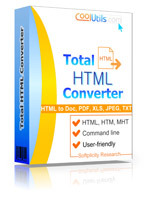 Convert HTML or MHT files to Doc, PDF, XLS, JPEG, TXT via GUI or command line.