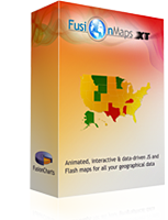<p> 	FusionMaps XT helps you display geographical data distributed by category, regions or entities using animated and interactive maps. You can use it to plot business data like revenue by regions, census data like population by state, election results, flight routes, office locations and survey results effectively.</p>