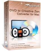 <p> 	Tipard DVD to Creative Zen Converter for Mac can give you a hand to convert DVD to Creative Zen AVI, MPG, MP4 video format. It is also available that this DVD to Creative Zen Converter for Mac can convert DVD to Creative Zen music MP3, WMA, WAV.</p>