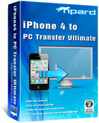 <p> 	Tipard iPhone 4 to PC Transfer Ultimate can help users transfer various mainstream media files to PC, such as music/movie/Pictures/TV Shows/Podcast/iTunes U/eBooks/Camera Roll/Ringtone/SMS/Contacts/Call list/Voice memos/Camera shot, etc.</p>