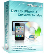 <p> 	Tipard Mac DVD to iPhone 4 Converter can help you convert DVD to iPhone 4 MPEG-4, H.264/MPEG-4 AVC, MOV, M4V video formats. It can also convert DVD to iPhone 4 MP3, M4A, AAC, WAV audio formats.</p>