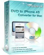 <p> 	Tipard DVD to iPhone 4S converter for Mac is especially designed for Mac users to watch DVD movies on your iPhone 4S. It could help you rip DVD to iPhone 4S H.264, MP4, and MPEG-4 videos and iPhone 4S MP3, ACC, WAV audios.</p>
