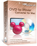 <p> 	Tipard DVD to iRiver Converter for Mac can convert DVD to iRiver friendly formats- MPEG-4, H.264/MPEG-4 AVC, WMV, AVI on Mac and adds the function to extract DVD audio to MP3, OGG, WMA format.</p>