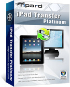 <p> 	Tipard iPad Transfer Platinum can rip and convert DVD/video file to many iPad and other Apple device compatible formats. Plus, you can also edit any video source file to create personalized video clips to put it on your iPad for fun.</p>