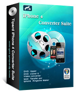 <p> 	Tipard iPhone 4 Converter Suite, contains DVD to iPhone 4 Converter, iPhone 4 Video Converter, and iPod to PC Transfer, can help you convert any DVD and video to iPhone 4, and transfer your music and video from iPhone 4 to computer.</p>