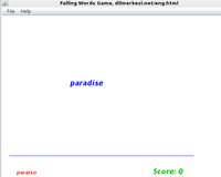 Desktop English Spanish Falling Words Game Screen shot