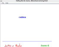 Desktop Spanish Arabic Falling Words Game Screen shot