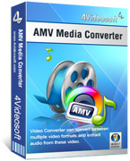 <p> 	4Videosoft AMV Media Converter can convert video files to AMV format and MTV, MP3 as well for MP4 players, S1 MP3 players. In addition, you can use 4Videosoft AMV Media Converter to customize output files through functions of merging, trimming, etc.</p>