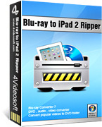 <p> 	4Videosoft Blu-ray to iPad 2 Ripper is a delicate ripper for you to rip blu-ray or the latest blu-ray disc to iPad 2 compatible format. Aided by this multifunctional software, you can rip, edit, and capture the picture from the movie.</p>