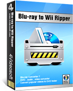 <p> 	4Videosoft Blu-ray to Wii Ripper is a converter which can rip Blu ray Disc, DVD files, DVD folder, IFO files to Wii. The output file formats supported are far-reaching like the audio formats FLAC, AIFF, AU, MKV, APE, OGG, WAV etc.</p>