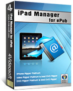 <p> 	4Videosoft iPad Manager for ePub can help you transfer ePub files to iPad directly or export some ePub format contents in your iPad out to somewhere. Just several clicks are enough. Newly, iPhone 4/iPad/iOS 4.3 are supported by it.</p>
