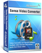 <p> 	4Videosoft Sansa Video Converter can convert all the video to MP4 video and MP3, OGG, WMA audio formats that are all accepted by all the Sansa devices including Sansa Fuze, Sansa Clip, Sansa View, Sansa slotMusic Player.</p>