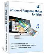 <p> 	4Videosoft iPhone 4 Ringtone Maker for Mac provides the easiest way to convert AVI, MPEG, WMV, MOV, RM, RMVB, MP4 to M4R iPhone 4 Ringtone, along with the function to convert WAV, WMA, RA, M4A, AC3, and MP3 to M4R iPhone 4 Ringtone.</p>