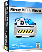 <p> 	4Videosoft Blu-ray to DPG Ripper is a kind of Blu-Ray ripping software which can rip Blu-Ray Disk and Convert DVD files to DPG and Convert other video formats to DPG ones. The Blu-ray to DPG Ripper offers many functions such as video trimming, etc.</p>