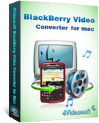 <p> 	4Videosoft BlackBerry Video Converter for Mac is the professional Mac BlackBerry Video Converter as the accompanied tools for all BlackBerry models. It can convert all video MPG, MPEG, MPEG2, VOB, MP4, RM, RMVB, WMV, HD video to BlackBerry MP4, AVI.</p>