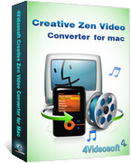 <p> 	4Videosoft Creative Zen Video Converter for Mac is the all-in-one Mac Video Converter for Creative Zen which can convert all video formats including MPG, MPEG, MPEG2, VOB, 3GP, 3GPP, MP4, M4V, SWF, FLV, HD video to Creative Zen AVI, MP4, WMV, MPG.</p>