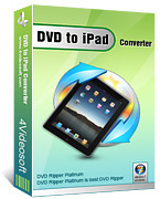 <p> 	4Videosoft DVD to iPad Converter enables you to convert DVD to iPad, even rip DVD to your iPhone, Apple TV and support MP4 video format. You can import certain titles or chapters and convert them to iPad format with selected audio track and subtitle.</p>
