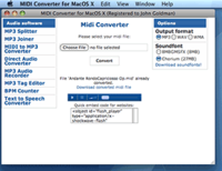 <p>Midi Converter for Mac is a program designed to convert midi music files into other popular mainstream formats so you can play back your music on many different devices without any problems.  It also allows conversion to other popular formats.</p>